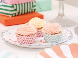8 paper cups - orange stripes