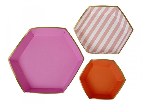 3 plats à services hexagone en papier - rose et orange