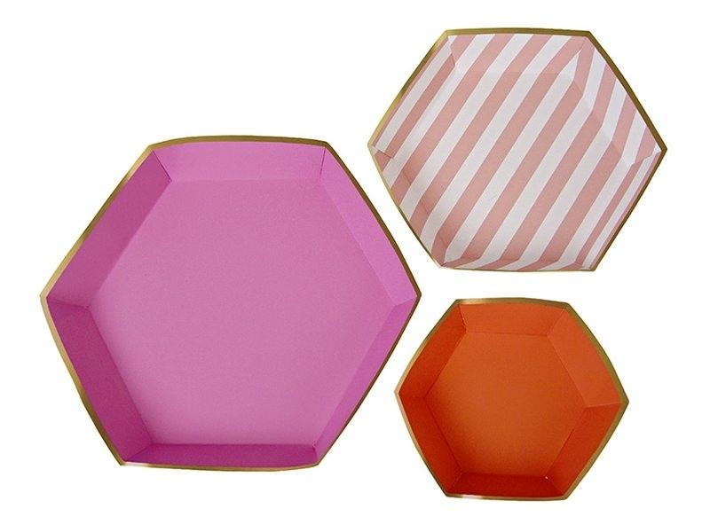 3 hexagonal paper platters - pink and orange