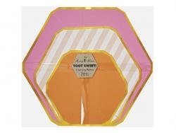 3 plats à services hexagone en papier - rose et orange