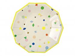 8 small octagonal paper plates - confetti