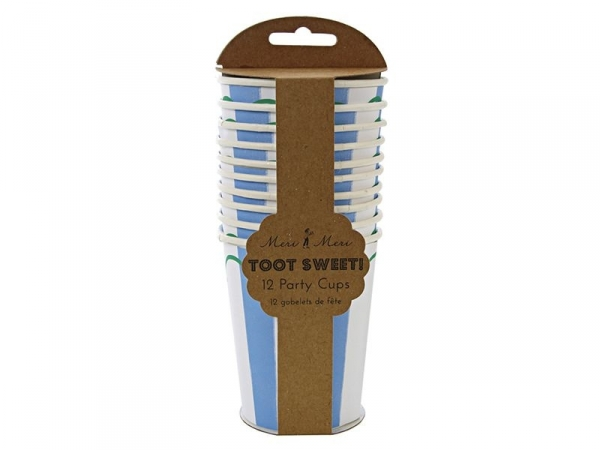 12 paper cups - blue stripes