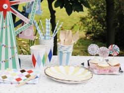 12 gobelets en papier - Rayures bleues