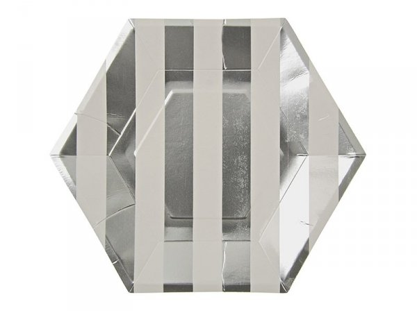 8 assiettes en papier hexagonales - rayures argentées