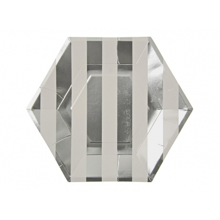8 hexagonal paper plates - silver-coloured stripes