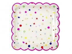 8 square paper plates - neon pink and confetti