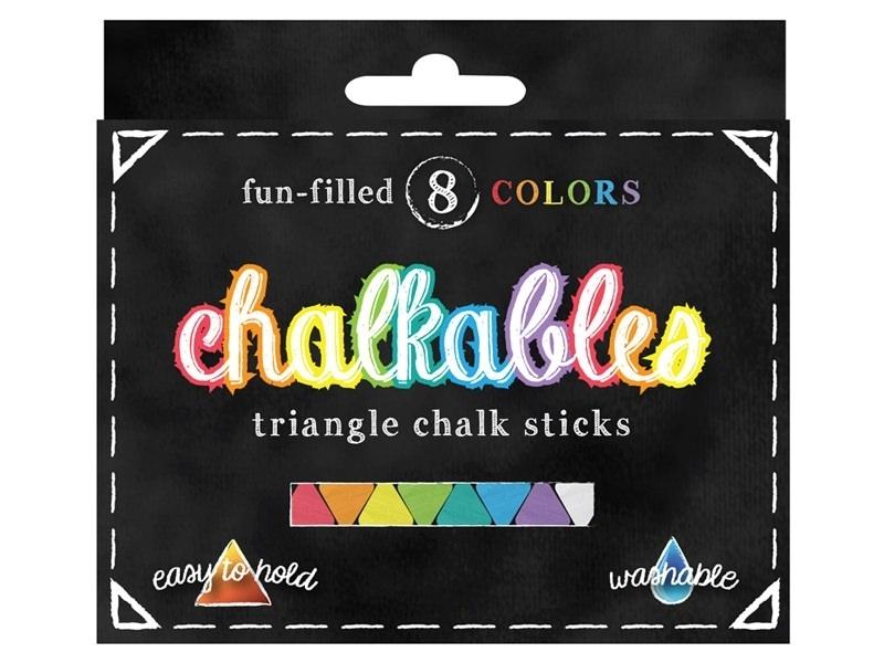 Set of 8 triangular chalk sticks - assorted colours