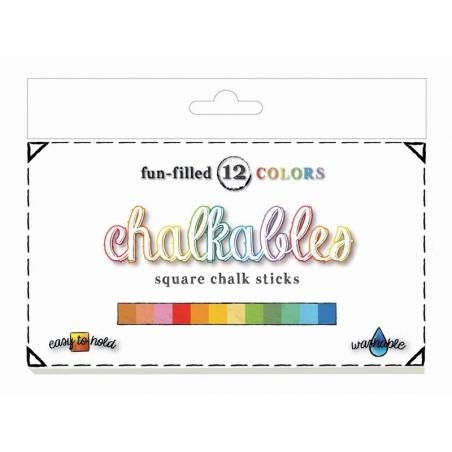 Set of 12 square chalk sticks - assorted colours