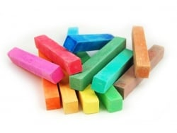 Set of 12 square chalk sticks - assorted colours