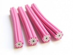 Flower cane - pink with black lines