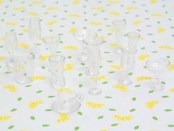 Set of 14 plastic bowls, stemmed glasses, and cups