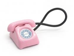Miniaturtelefon im Vintagelook - rosa