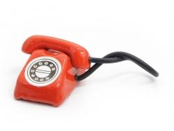 Miniaturtelefon im Vintagelook - rot