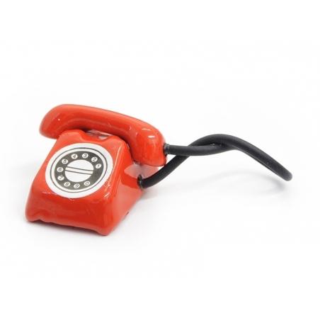 Téléphone vintage miniature - rouge