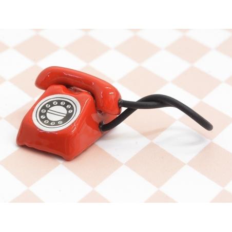 Miniature vintage telephone - red