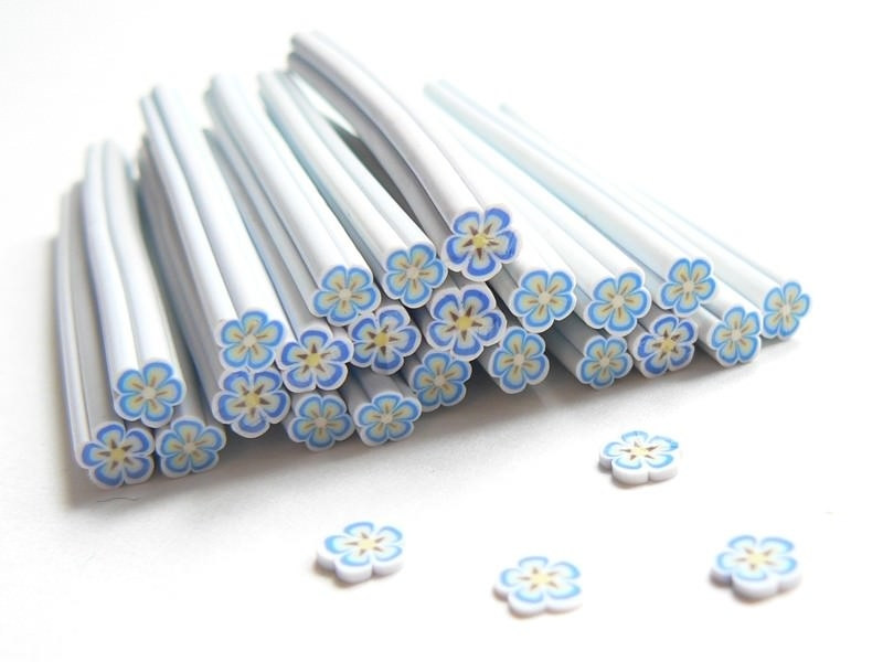 Daisy cane - white, blue, and brown