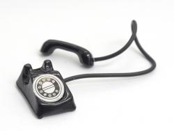 Miniaturtelefon im Vintagelook - schwarz