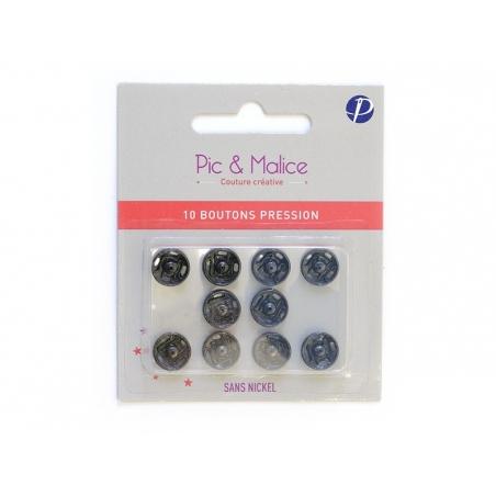 10 boutons pression 11 mm - noir  - 3