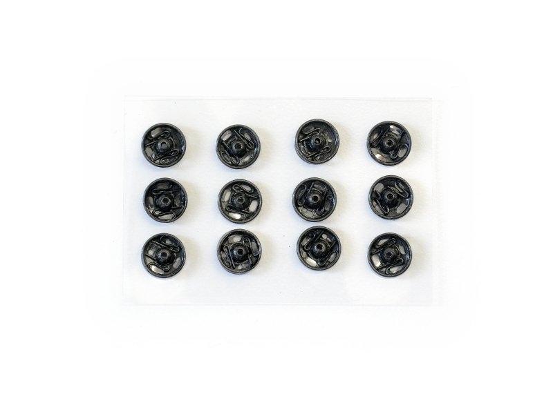 12 boutons pression 7 mm - noir