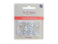 10 boutons pression 11 mm - couleur argent