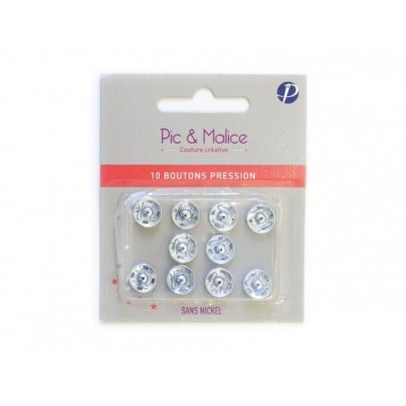 10 press studs (11 mm) - silver-coloured