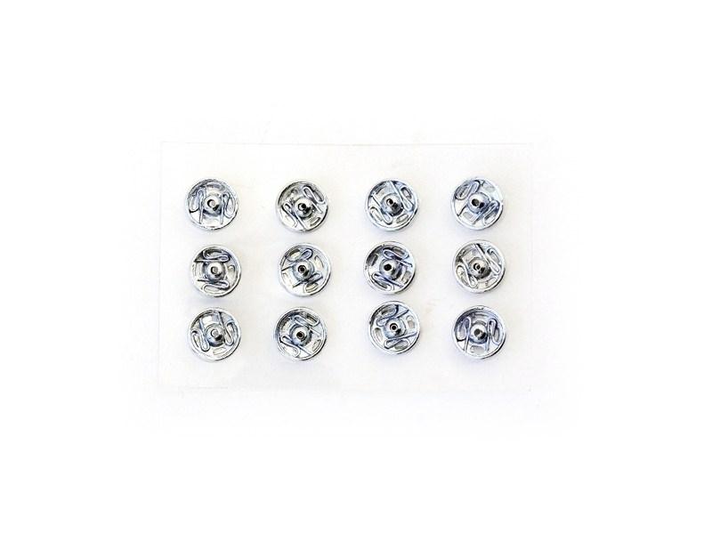12 boutons pression 5 mm - couleur argent