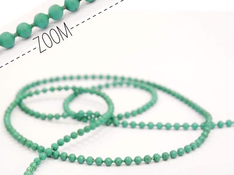 1m chaine bille vert émeraude 1,5 mm