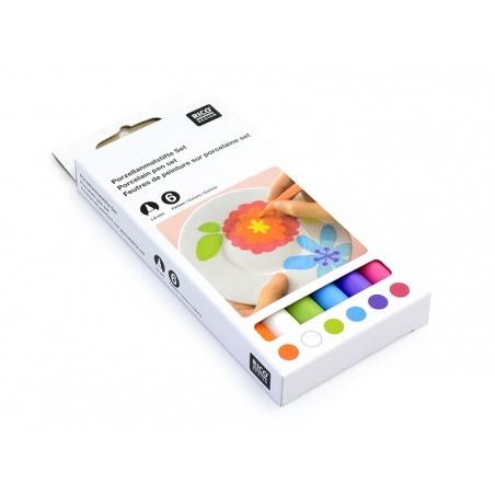 6 Feutres de peinture pour porcelaine - Couleurs trendy