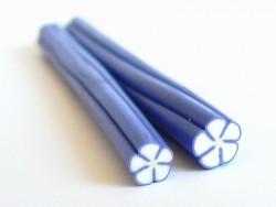 Cane fleur blanche aux contours bleu  - 1