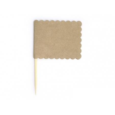 10 étiquettes fanions rectangulaires à planter - Kraft