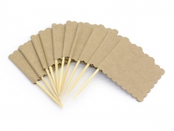 10 rectangular paper flags / tags that can be pinned - made of kraft paper