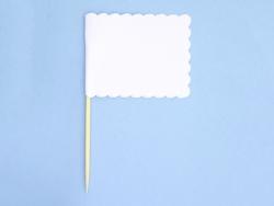 10 rechteckige Fähnchen zum Feststecken - weiß