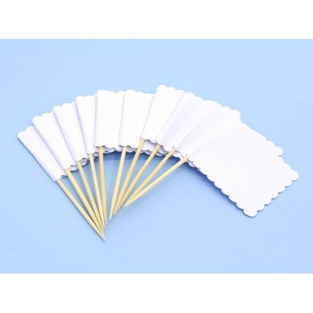 10 étiquettes fanions rectangulaires à planter - Blanc