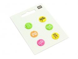 6 Boutons en plastique Made by me - Fluo Rico Design - 1