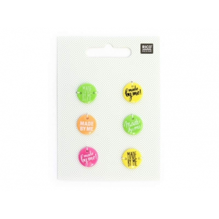 """6 """"Made by Me"""" plastic buttons - Neon"""