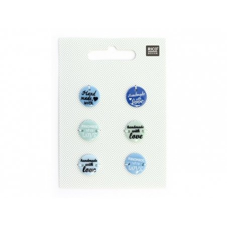 """6 """"Handmade with love"""" plastic buttons - Blue hues"""