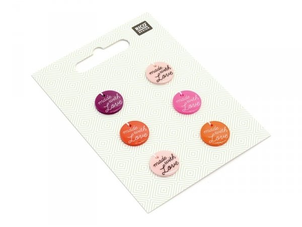 6 Boutons en plastique Made with love - Roses