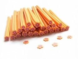 Cane fleur orange et bordeaux en pâte fimo - à découper en tranches  - 1