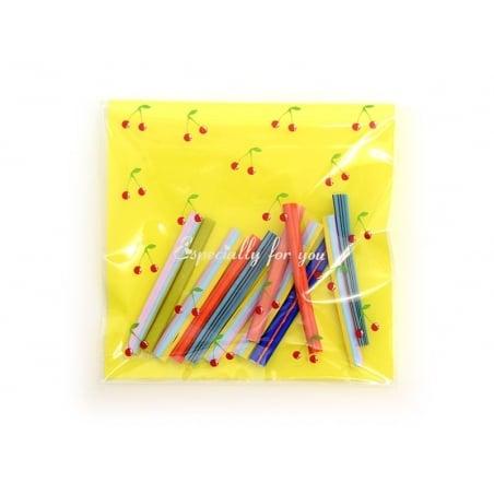 """Acheter 1 sachet plastique adhésif - Cerises """"especially for you"""" fond jaune - 0,29€ en ligne sur La Petite Epicerie - Loisi..."""
