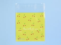 """1 plastic bag with adhesive seal - Cherries on a yellow background, """"Especially for you"""""""