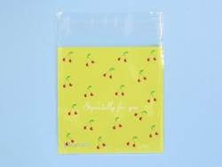 """1 sachet plastique adhésif - Cerises """"especially for you"""" fond jaune"""