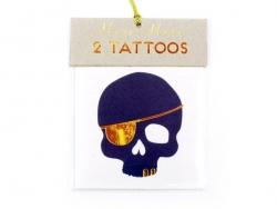 """2 Tatouages """"Ahoy !"""" et tête de mort - noir et or"""
