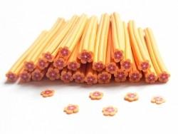 Acheter Cane fleur orange et bordeaux en pâte fimo - à découper en tranches - 0,49€ en ligne sur La Petite Epicerie - Loisir...