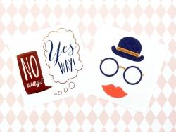 """2 Tatouages """"No/Yes way!"""" et Bonhomme - noir rouge et or"""