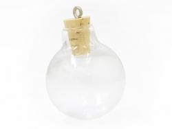 1 kugelförmiges Glasfläschchen mit Korkenverschluss