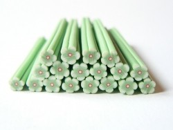 Flower cane - green with a red centre