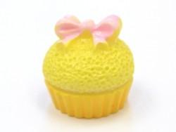 Cabochon cupcake jaune petit noeud