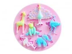Moule en silicone rose - animaux sauvages Fimo - 1