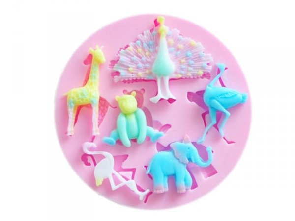 Pink silicone mould - Wild animals
