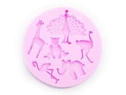 Moule en silicone rose - animaux sauvages